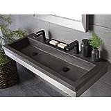 Native Trails NSL4819-SX Native Stone Trough Bathroom Sink, 48' x 19', Slate, No Faucet Holes