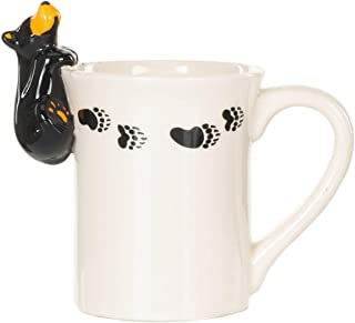 DEMDACO Bear Figural Glossy White and Black 12 Ounce Ceramic Stoneware Mug With Handle