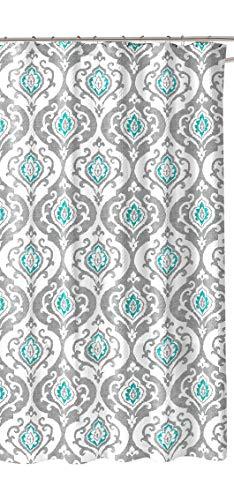 CHD Duschvorhang, Damast, Blumenmuster, Grau/Blaugrün/Weiß
