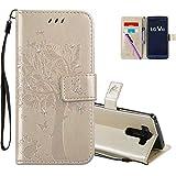 COTDINFOR LG V10 Hülle für Mädchen Elegant Retro Premium PU Lederhülle Handy Tasche mit Magnet Standfunktion Schutz Etui für LG V10 Gold Wishing Tree with Diamond KT.