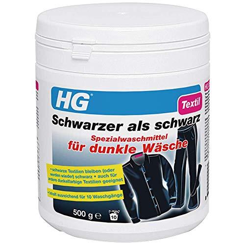 HG Schwarzer als schwarz Spezialwaschmittel für dunkle Wäsche (1 x 500 gr) – lässt dunkle Textilien wie neu aussehen