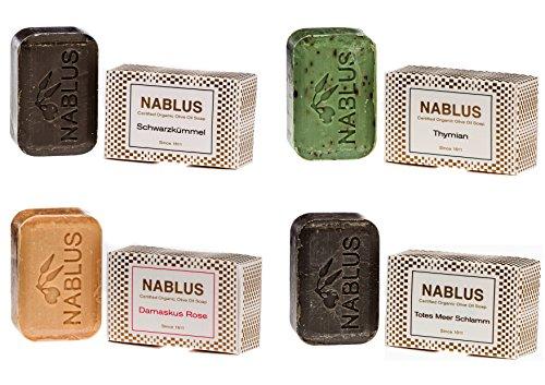 Nablus Soap natürliche Olivenölseife 4er Set (4 x 100g) Totes Meer Schlamm Damaskus Rose Thymian Schwarzkümmel, für sensible Haut, handgemacht und palmölfrei, aus 80% extra nativem Olivenöl