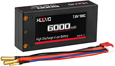 HOOVO 2S 100C 6000mAh 7.6V RC Shorty Lipo Battery High-Voltage Hard Case with Deans T Connector for RC 1/8 1/10 Scale Vehicles Car Trucks Boats(4mm Bullet)