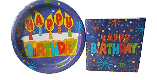 Greenbrier Happy Birthday Party Pack - 18 Plates and 20 Napkins