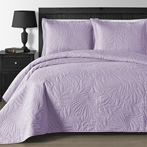 Comfy Bedding Extra Lightweight and Oversized Thermal Pressing Leafage 3-Piece Coverlet Set (Full/Queen, Lavender)
