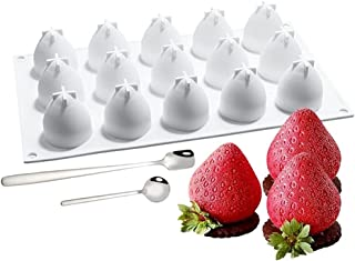 3D Creative Mini Strawberry shaped Silicone & 2 Dessert spoons,for Baking Mousse Cake Dessert Cup Topper Decoration Mold C...
