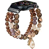 TOROTOP Bracelet Compatible with Apple Watch Bands 40mm/38mm Series 5/4 Women Girl, Cute Handmade Fashion Elastic Beaded Strap Replacement Compatible for iWatch Series 6/5/4/3/2/1 (Coffee,)