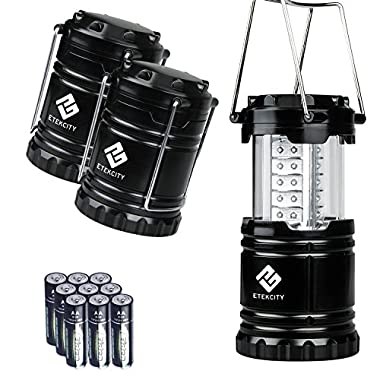 Etekcity Portable LED Camping Lantern Ultra Bright with Batteries (Black, Collapsible) (3 pack lantern)