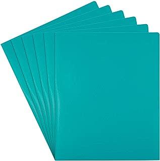 JAM PAPER Heavy Duty Plastic 2 Pocket School Folders - Teal Blue - 6/Pack