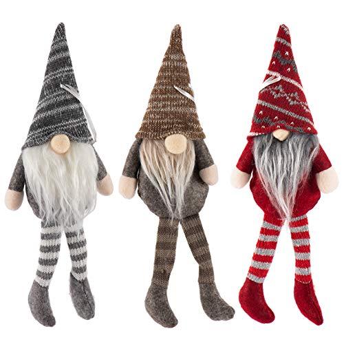 Biubee 3 Pcs Christmas Hanging Swedish Tomte- Handmade Elf Gnome Scandinavian Santa Gnome Long-Legged Christmas Tree Hanging Ornament for Xmas Gifts, Home Decorations