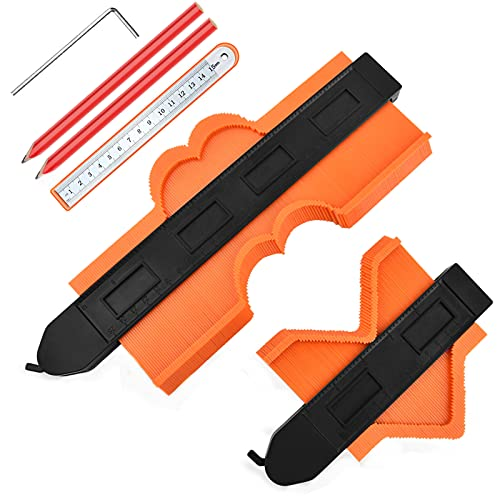 """Contour Gauge with Lock, JUEMEL 5"""" and 10"""" Contour Duplications Gauge, Profile Shape Copy Tool, Instant Template for Curved Shapes, Corners and Contoured W/Steel Ruler and 2 Carpenter Pencils"""