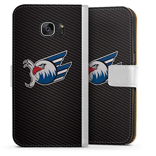 DeinDesign Klapphülle kompatibel mit Samsung Galaxy S7 Handyhülle aus Leder weiß Flip Case Adler Mannheim Eishockey Logo