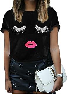 chenshiba-JP 女性半袖ファッション唇まつげは、緩いTシャツを印刷