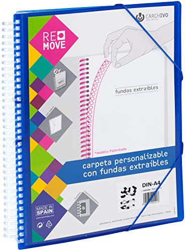 Carchivo 8422951045282 - Carpeta Remove personalizable de 40 fundas extraíbles, color azul
