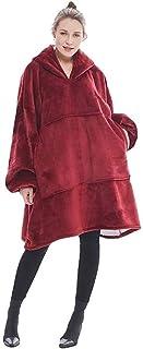 Oversized Comfy Plush Hooded Blanket Hoodie Giant Sweatshirt Huggle Fleece Warm One Size Fits All (red)