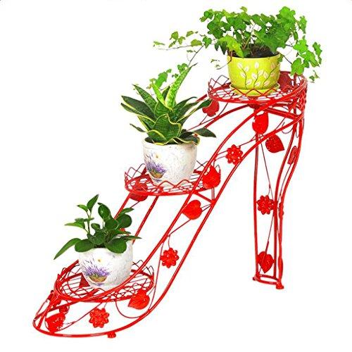 CKH Étagère à Fleurs en Fer forgé Multi-Couche Pot Titulaire Intérieur et Extérieur Salon Balcon Haut Talons Creative Fleur Étagère Vert Luo Hang Orchidée Stand (Color : Red)