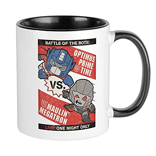Tazas Optimus Prime Vs Megatron Taza de café de cerámica divertida con asa en C