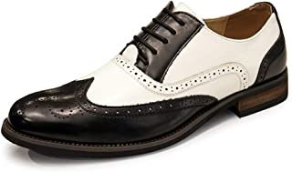 SHENTIANWEI Business Oxford for Men Formal Dress Shoes Lace Up Microfiber Leather Point Toe Wingtip Brogue Carving Waxy Shoelaces Two Tones Accent Split Joint (Color : Black, Size : 8 UK)