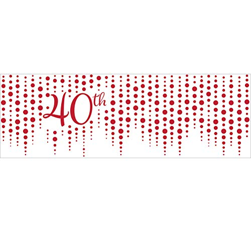 Creative Converting 340538 Sparkle and Shine Ruby 40th Anniversary Banner, 60' x 20'