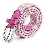 Cinturilla elástica Para niños Cintura Elástica para niñas niños, Cinturón de Goma Multicolor para mujeres de 2,5 cm de ancho y 80 cm de largo con anillo de Metal Rosado
