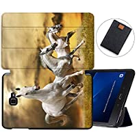 MAITTAO Galaxy Tab A 10.1 Case Model SM-T580 T585 T587, Slim Folio Shell Case Stand Cover for Samsung Galaxy Tab A 10.1 Inch 2016 Release & Tablet Sleeve Bag 2 in 1 Bundle, Akhal-Teke Horse 8