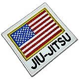 AM0239T 01 BR44 - Parche bordado con la bandera de Jiu-Jitsu de Estados Unidos para kimono, planchar o coser