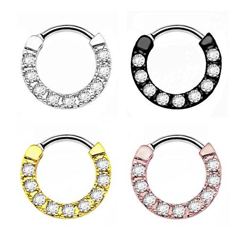 Segment ring Karisma Titan G23SETTO Clicker naso anello Piercing per naso con zirconi pietre 1,2x 8mm TSC EX-H15, titanio, colore: oro rosa, cod. TSC-H15