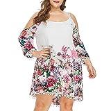 Kingwo Vestido Estampado de Flores, Vestido de Moda para Mujer, Talla Grande, Hombros Descubiertos, sin Tirantes, de Manga Larga, Vestido Midi de Verano para niñas