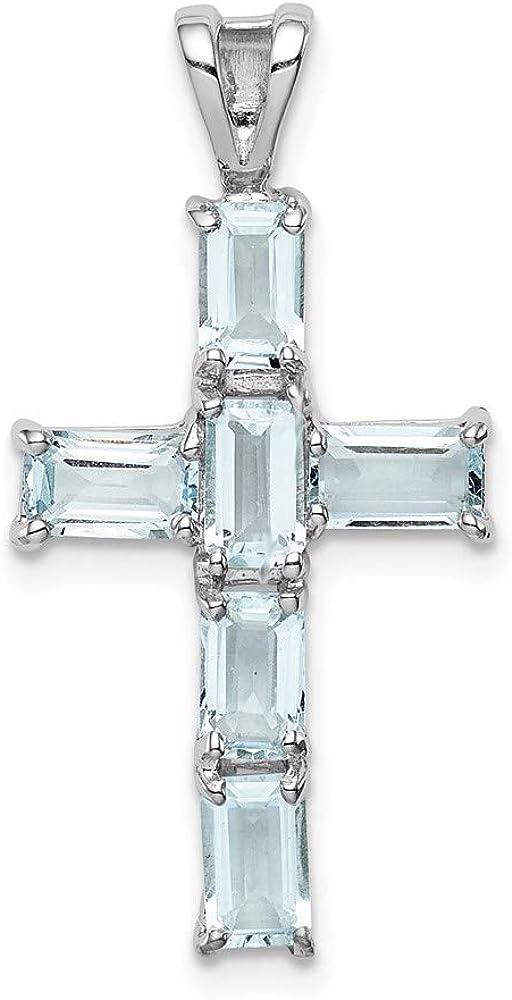 Sterling Silver Rhodium Max 63% OFF Plated Aquamarine Max 79% OFF 28.4mm 1 Cross Pendant