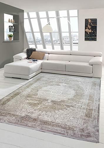 Teppich-Traum Tapis de Salon en Laine à Motif Oriental en Beige crème Größe 80 x 300 cm