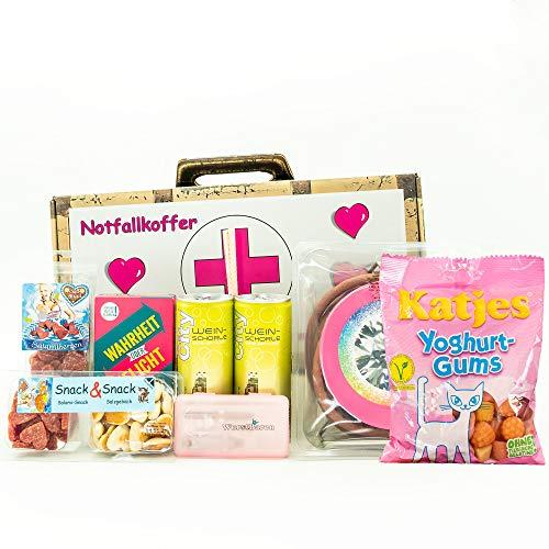 WURSTBARON - Damen-Notfall Koffer - Geschenk Koffer mit Wurst-Kabeltrommel, Prosecco, Gummibärchen, Spinner Game...