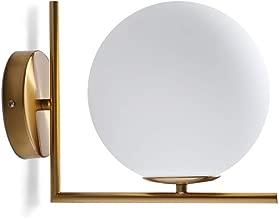 XLEVE Modern Copper Glass Ball Wall Lamp Magic Bean Globe Molecular Brass Wall Light Sconce for Restaurant Living Room Bathroom Mirror Headlights Bedside in Gold Color (1 Light)