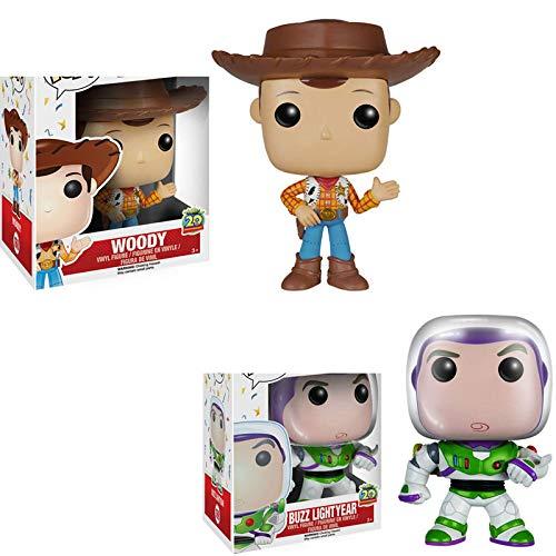 2Pcs Figuras Pop Dibujos Animados Toy Story # 168Woody # 169 Buzz Lightyear Figura De Acción De Vinilo 10Cm, Colección De PVC Modelo Juguetes para Niños Regalo De Cumpleaños