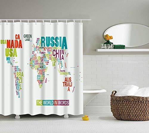 Boyouth Duschvorhang mit Weltkarte von Ländernamen Muster, Digitaldruck, für Badezimmer, Dekoration, Polyester, wasserdichter Stoff, Badvorhang mit 12 Haken, 180 x 180 cm, mehrfarbig
