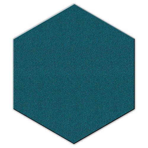 FrankenArt Akustikschaumstoff PolySound Akustik Schaumstoffe aus Basotect® WollFilz Stoff - kaschiert in Hexagon-Form Größe L - Durchmesser Ø45cm - Stärke 3cm - Farbe: 0018 wasserblau