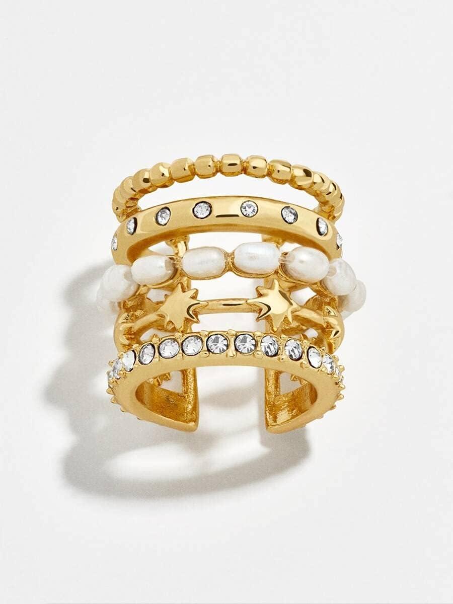 FYJIDY Hoop Earrings 1pc Faux Pearl & Rhinestone Decor Ear Cuff (Color : Gold)