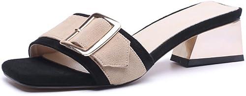 JIANXIN JIANXIN JIANXIN Cuir Carré Boucle Sandales à Talons Plats Sortir Pantoufles Femmes Mode De Plein Air été Demi-Pantoufles Carrées (Couleur   marron, Taille   EU 36 US 5.5 UK 3.5 JP 23cm) 97b