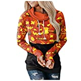 Sweatshirt con Capucha Mujer Estampado de Calaveras y Calabaza Manga Larga con Cuello Redondo Camiseta Holgada Causal Blusas Pullover Fiesta de Halloween Poloshirt Otoño Invierno Ropa Deportiva