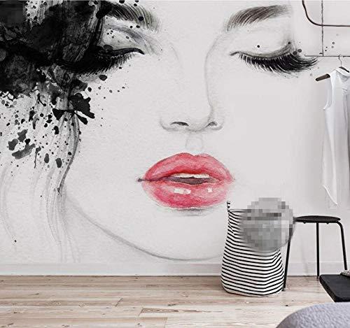 muurschildering muur muurschildering Muralscustom behang op maat behang huis meubels muurschildering water schilderijen vlammende lippen schoonheid eenvoudige tv bank achtergrond muur 3D behang 350*245cm