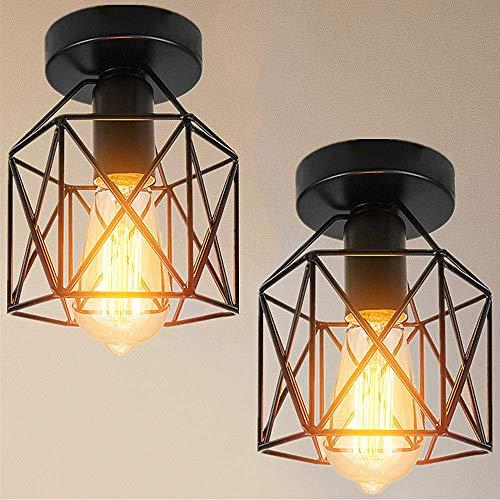 Industrial Vintage Deckenleuchte Retro Deckenlampe Industrie Kronleuchter Lampenschirm Semi-Flush Mount Pendelleuchte mit E27 Fassung. (Black-2pcs)