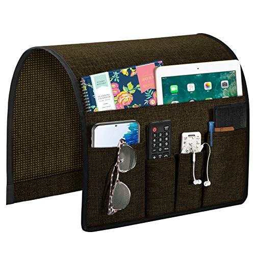 Joywell Organizador de apoyabrazos para sofá, soporte de mando a distancia para sofá reclinable, con 5 bolsillos para revista, tableta, teléfono, iPad, chocolate oscuro