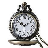 Avaner Reloj de Bolsillo para Hombre, Relojes Vintage Steampunk Fob, Reloj de Bolsillo de Póquer de Bronce Antiguo con Grabado Real Retro Clásico, Regalo único y Genial para el Padre