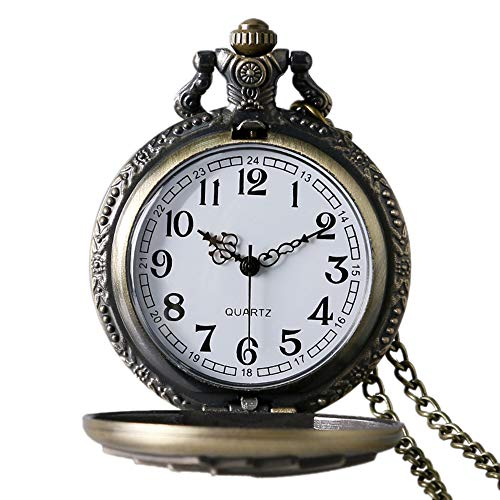 Avaner Reloj de Bolsillo Vintage Retro Póker Grabado para Buena Fortuna Royal Flush, Bronce Reloj Cuarzo con Cadena de 80CM, Regalo Dia de la Madre