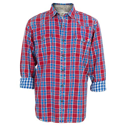 Duck and Buck Commander Herren Hemd Fletch Button Up, Herren, LS, gewoben, Fletch Button Up Shirt, rot, X-Large