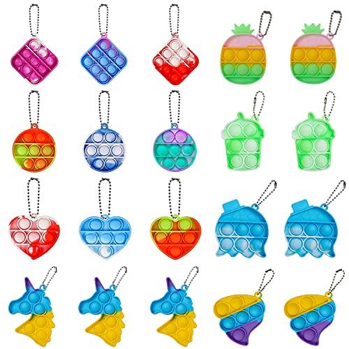 BINGLALA 20 Pcs Simple Fidget Toy Pop Fidget Toy Mini Stress Relief Hand Toys Keychain Toy Push Pop Bubble Wrap Pop Anxiety Stress Reliever Office Desk Toy for Kids Adults (20 PCS)