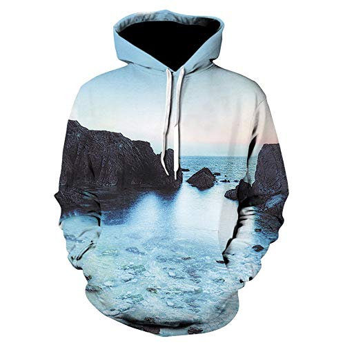Unisex 3D novedad sudaderas impresión piedra montaña río sudaderas con capucha pullover...