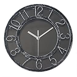 8 Vintage Silent Wall Clock Non-ticking Quartz Wall Clock Darkling Silver Quiet Sweep Digital Clock With Plastic Bezel