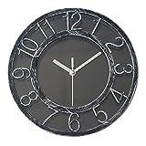 "8"" Vintage Quiet Sweep Quality Wall Clock Silent Quartz Wall Clocks Darkling Silver Non-Ticking Digital Clock with Plastic Bezel"