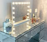 Hansong Large Vanity Makeup Mirror with Lights,Hollywood Lighted Dressing Tabletop Mirror or Wall...