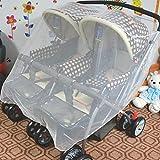 Insektennetz für Zwillingskinderwagen Buggy Mückennetz Moskitonetz Atmungsaktives Schutzabdeckung 210cmx140cm für Autositz Kinderwagen Buggy Babywanne